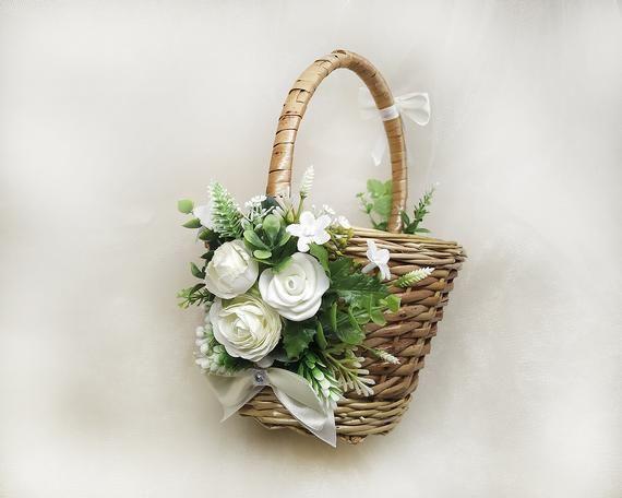 NEXT DAY SHIPPING Large Flower Girl Basket Dusty Rose Flower Girl Basket and Ring Pillow Set