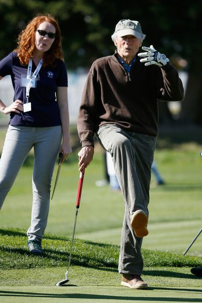 Clint Eastwood Photos Photos - Actor Clint Eastwood reacts to a putt on the second hole during the 3M Celebrity Challenge prior to the AT&T Pebble Beach National Pro-Am at Pebble Beach Golf Links on February 10, 2016 in Pebble Beach, California. - AT&T Pebble Beach National Pro-Am - Preview Day 3