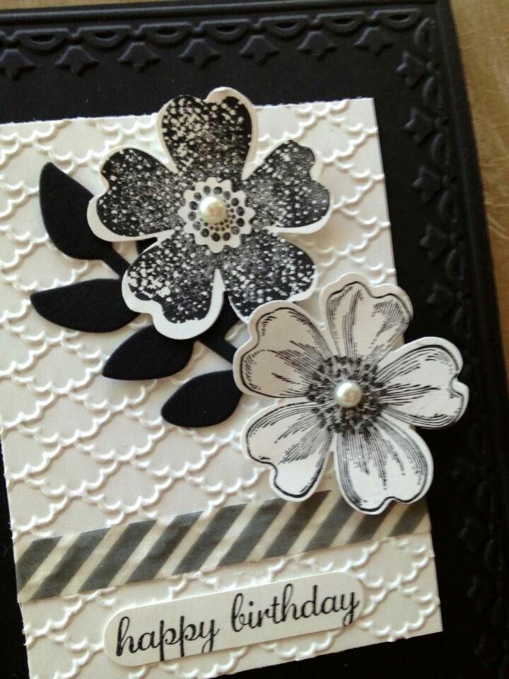 Cuttlebug embossing and stamped flower cut outs