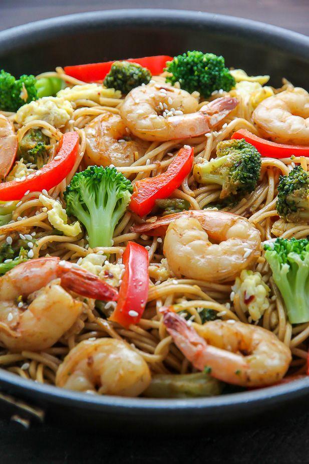 20-Minute Shrimp and Broccoli Lo Mein by bakerbynature #Lo_Mein #Noodles #Shrimp #Broccoli #Healthy #Fast