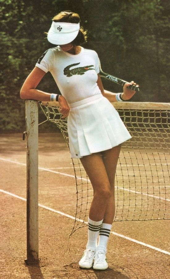 We just love this image from the 70's with a tight white Lacoste T shirt, enlarged crocodile logo and short pleated skirt. The visa and knee length socks really complete the look, this is retro sports-wear at it's finest.