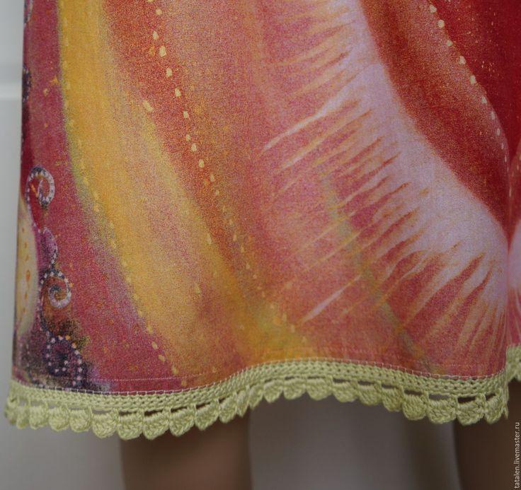 """Купить Платье хлопок """"Перо жар-птицы"""" - абстрактный, авторская ручная работа"""