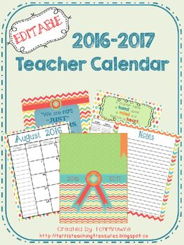 ★ ★ UPDATED FOR 2016-2017 SCHOOL YEAR!! Editable teacher calendar in a cute chevron and polka dot design. This calendar has American holidays on it only. The bright colors of this are sure to brighten up your work day. Each month opens on two pages in order to have bigger boxes for writing in, as well as a small notes section on each month. There is also a page for monthly goals and one to record birthdays. Add your name to the front cover to personalize and add text boxes to add events.
