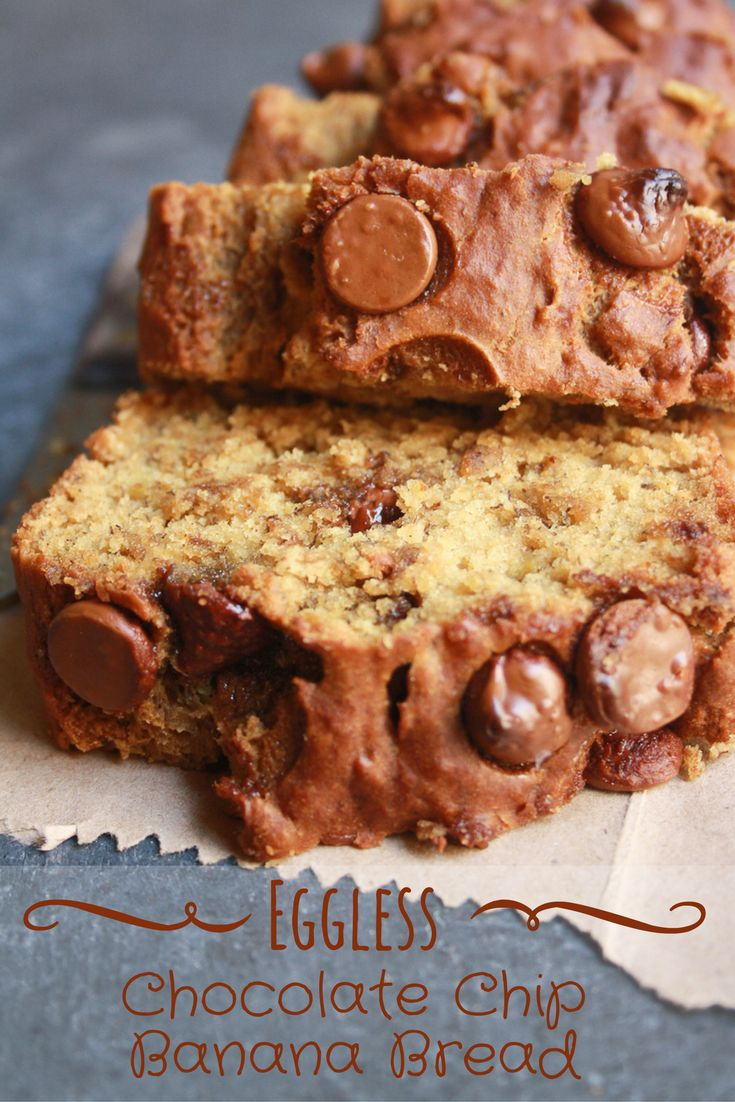 Moist, spiced banana bread filled with chocolate chips, no mixer needed. It's made without eggs and can easily be made vegan!