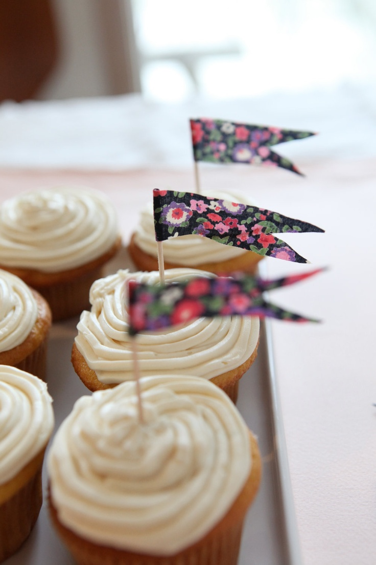 These little flags made from floral fabric make any treat a celebration. $12.00.
