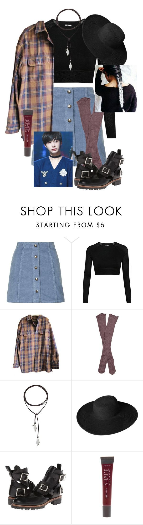 """""""Hyungwon!"""" by pieeella ❤ liked on Polyvore featuring Topshop, Ivy Park, Timberland, Free People, Vanessa Mooney, Dorfman Pacific, Yohji Yamamoto and SHADE Collection"""