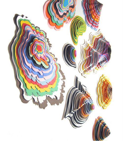Escultures de paper de colors