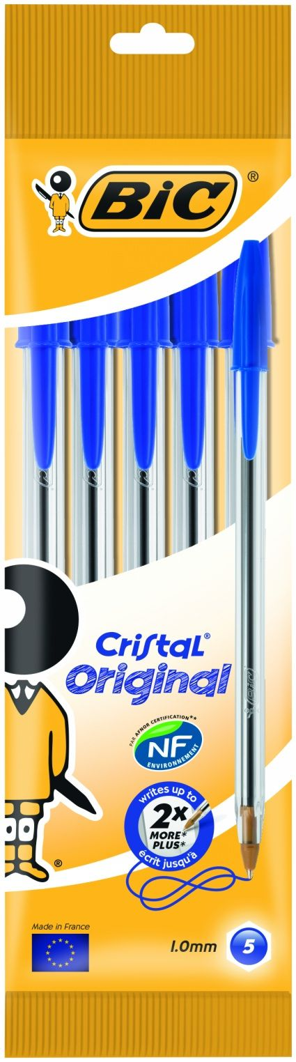 Buy BiC Cristal Medium Ballpoint Pens, Medium Nib, Blue Ink (Pack of 5) From WHSmith today, part of 3 For 2 Essential Pens