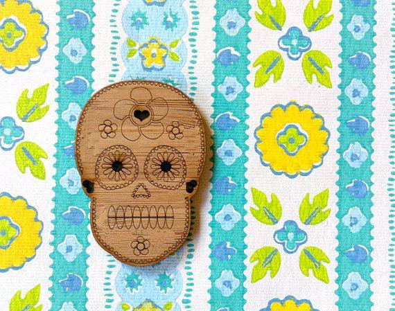 Wooden Sugar Skull Lasercut Supplies 1 pce by CraftyCutsLaser, $4.75 #craftycutslaser #lasercut #lasercutwood