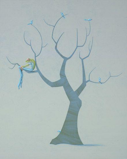 Blauwe vogels / Blue birds - 100 x 80 cm - acrylverf op doek / acrylic on canvas - 2010 -  verkocht / sold