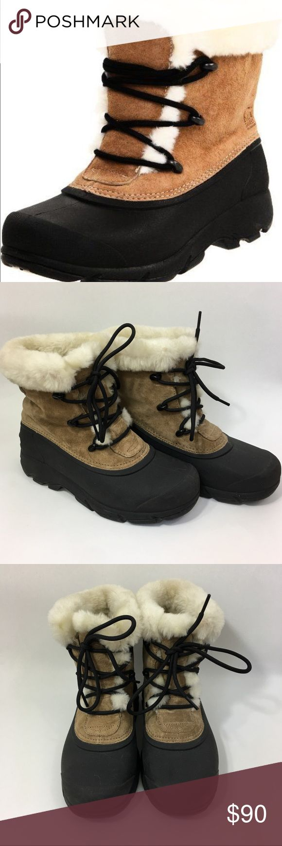 Sorel Snow Angel Lace Up Tan Winter Boots Sorel snow angel Lace up winter snow boots in root beer color. Worn once or twice. Size 7. Waterproof Suede. Faux fur lined. Very warm. Excellent like new condition. Sorel Shoes Winter & Rain Boots
