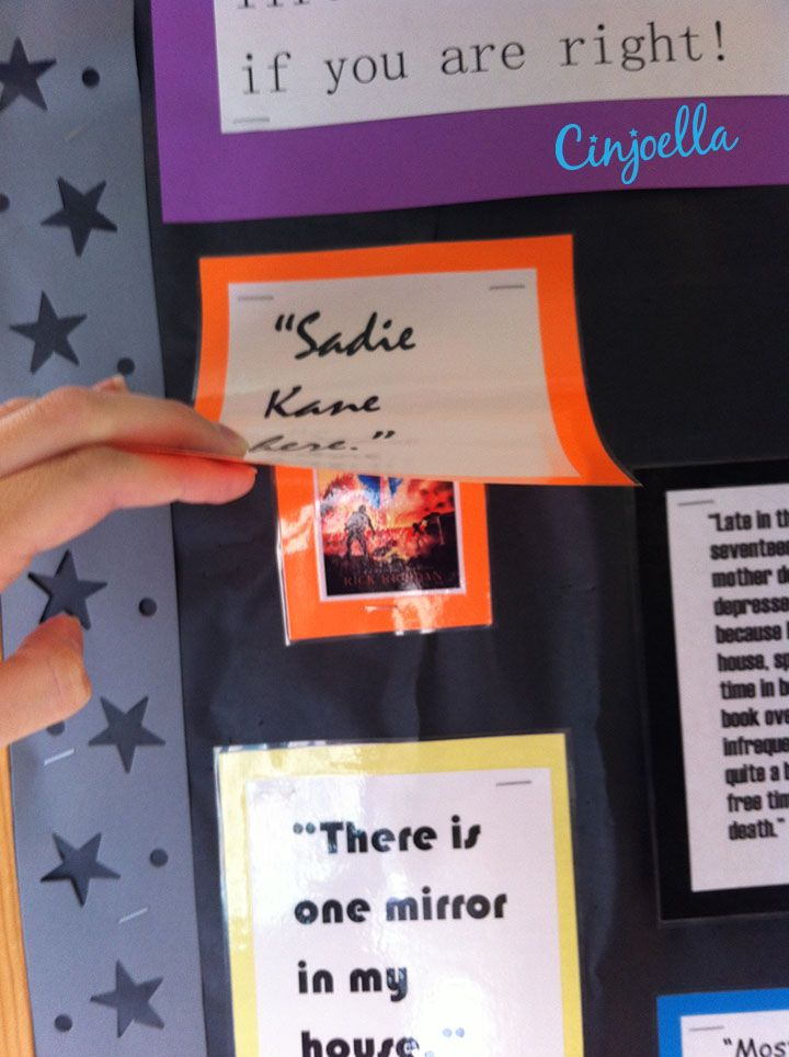 teen library bulletin boards | Read the Clue-That way teens can lift it up to see if they are right about what book ...