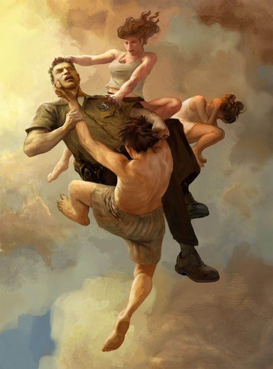 """Jon Foster Studios - The Leftovers on HBO : """"I had the pleasure of working with Garson Yu at Yu and Co. http://www.yuco.com, who had the idea of creating a """"baroque-like fresco"""" using contemporary people in various everyday life situations.  With Garson's direction, I worked on creating scenes, which (I hope) reflect love, angst, violence, sex, loss, and regret."""