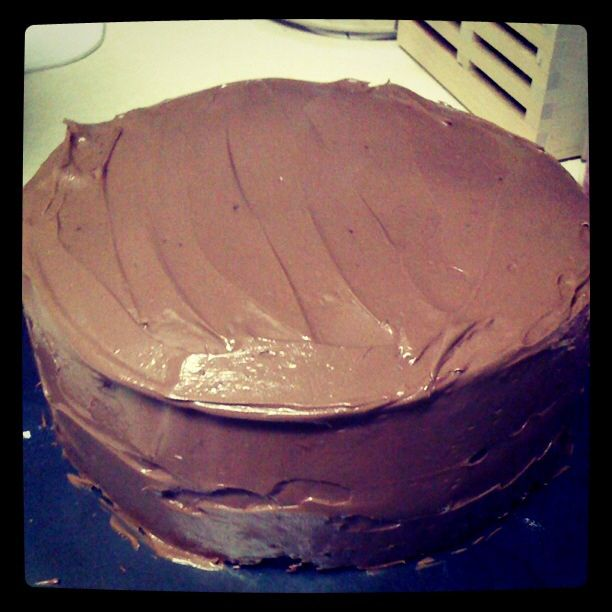 Double layered chocolate cake with chocolate buttercream frosting!!!!