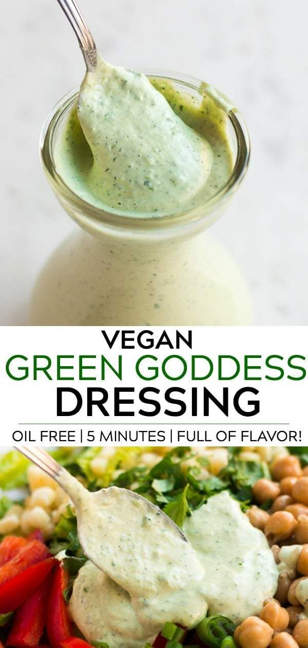 Vegan Green Goddess Dressing recipe, full of flavor and healthy! Oil Free. #vegan #plantbased