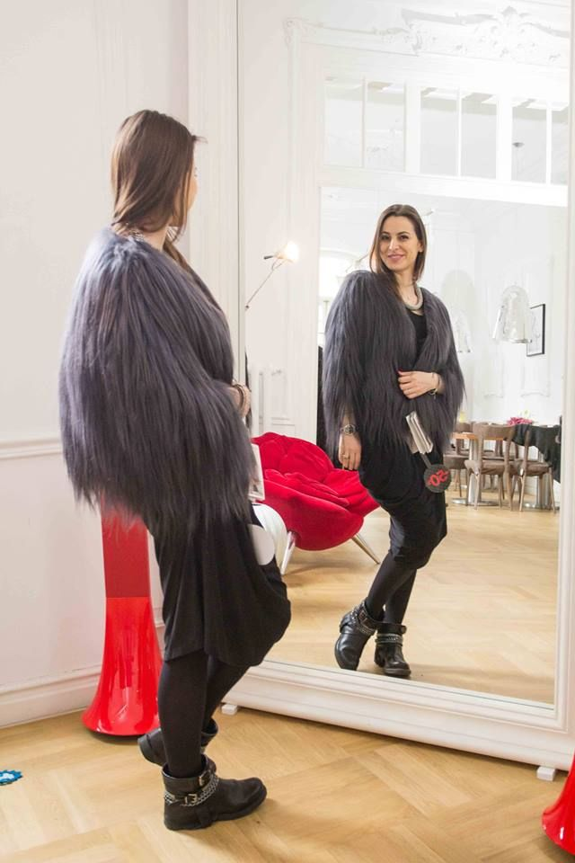 Miruna Ardelean @ Iconic trying out our fabulous piece from Furs and the City collection!