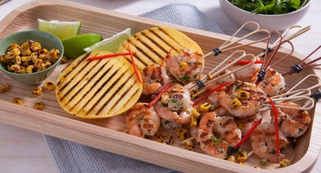 Throw these succulent Aussie Garlic Prawns & Chargrilled Mango on the barbie!  #bbq #australian #recipe