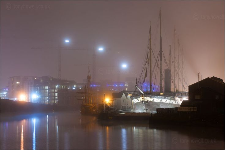 The 'SS Great Britain' and 'The Matthew' on a foggy night in Bristol docks. http://www.tonyhowell.co.uk/new/SSGreatBritainPhotos.htm