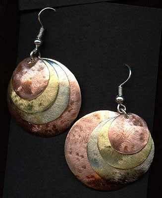 Kolczyki biżuteria artystyczna robiona ręcznie handmade z nowego srebra miedzi mosiądzu mosiężne miedziane