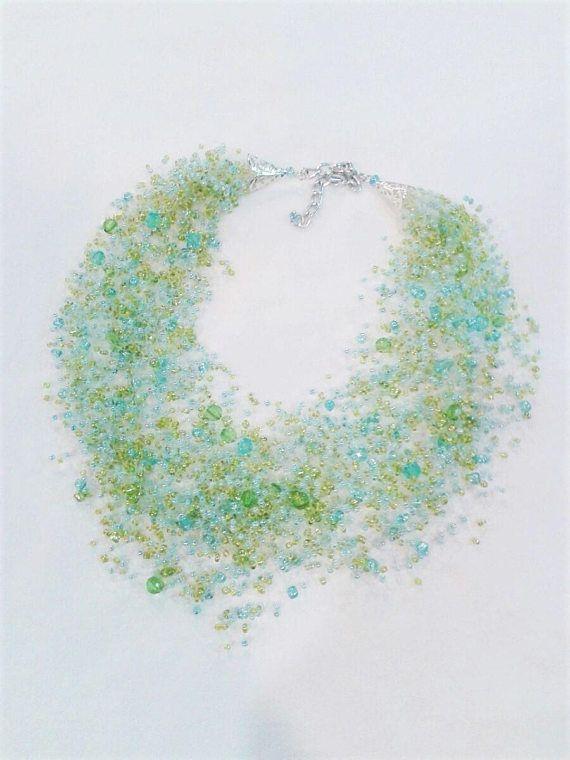 Blue-Green Air Necklace Sea Breeze