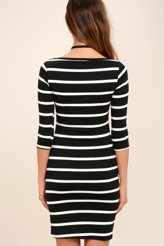 ade26f5a960 Cute Black Dress - Striped Dress - Body-con Dress