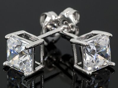 Bella Luce (R) 2.34ctw White Diamond Simulant Platinum Plated Sterling Silver Stud Earrings