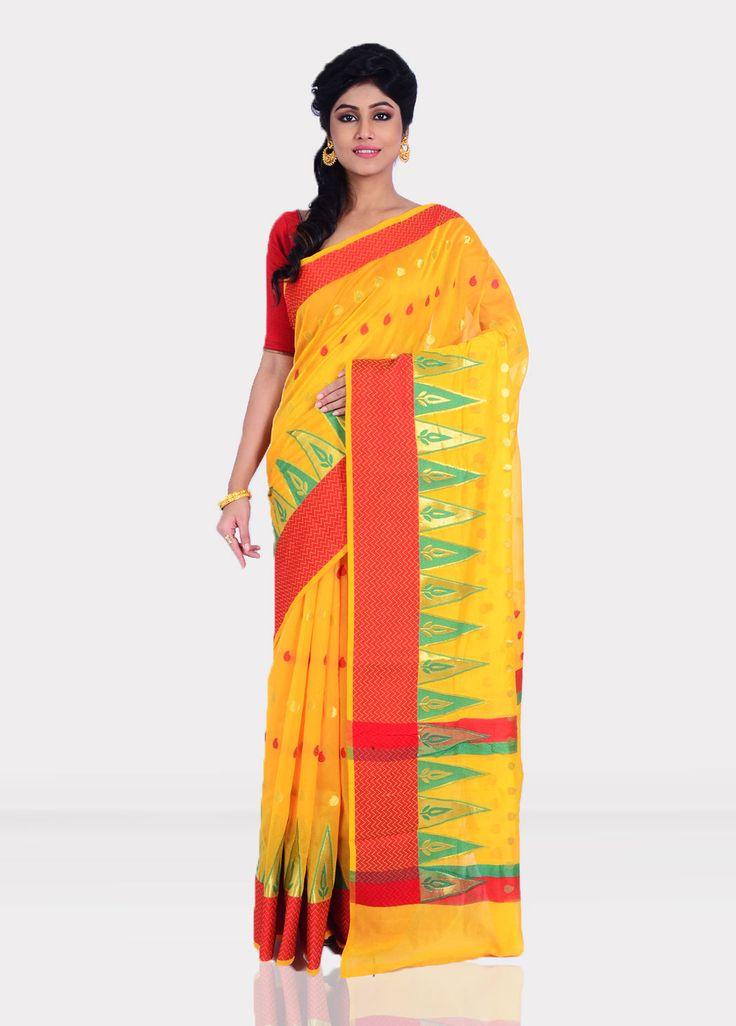 Yellow kora silk saree with blouse