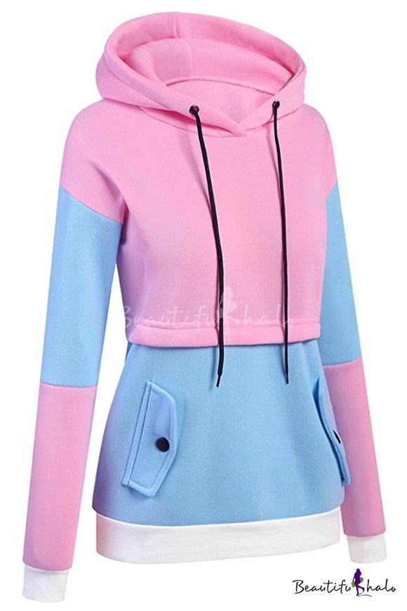 42d56dc4225 New Trendy Fashion Color Block Casual Leisure Long Sleeve Hoodie ...