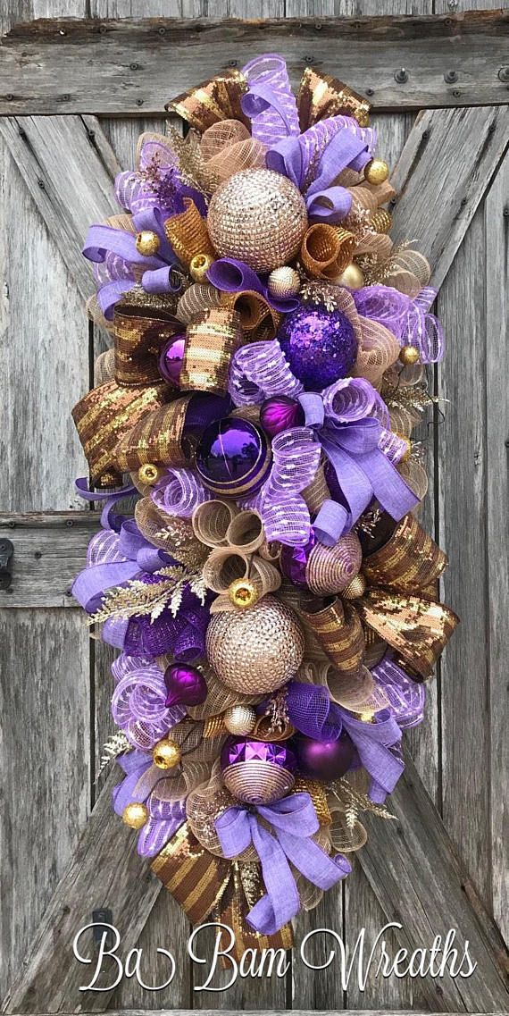 Purple Christmas, Golden Christmas, Christmas Wreath, Christmas Swag, Christmas Door Hanging, Holiday Wreath, Holiday Swag, Winter Wreath, Winter Swag Im Dreaming Of a Purple and Gold Christmas~ .....fine details, lush decor.....this swag is so Stunning ~ youll be saying I want more.