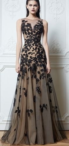 Evening dress with lace overlay
