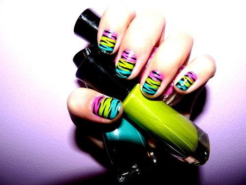 Rainbow zebra stripe nails #rainbow #nails #zebra #stripes
