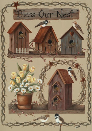 Birdhouse Bench decorative house flag - flagsrus