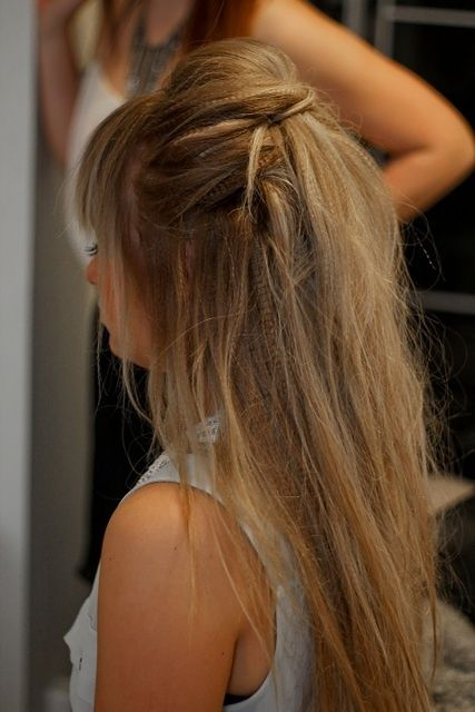 blonde crimped hairstyle and updo