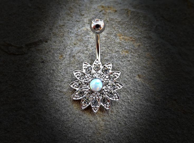 Flower Sparkly Crystal 14ga Opal Belly Ring Navel Ring Body Jewelry Piercing Surgical Steel - BodyDazzle - 2