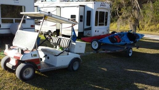 Need this kayak trailer for the golf cart kayaking for Harbor freight fishing cart