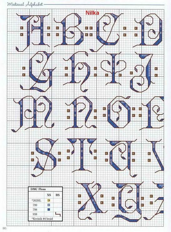 medieval alphabet   1 of 4  cross stitch alphabet