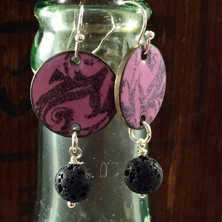 OOAK Pink and Black Copper Penny Enameled Earrings with Lava Bead Dangle, Torch Fired Enamel Jewelry, OOAK Jewelry, gift for sister, friend by kyleemaedesigns on Etsy