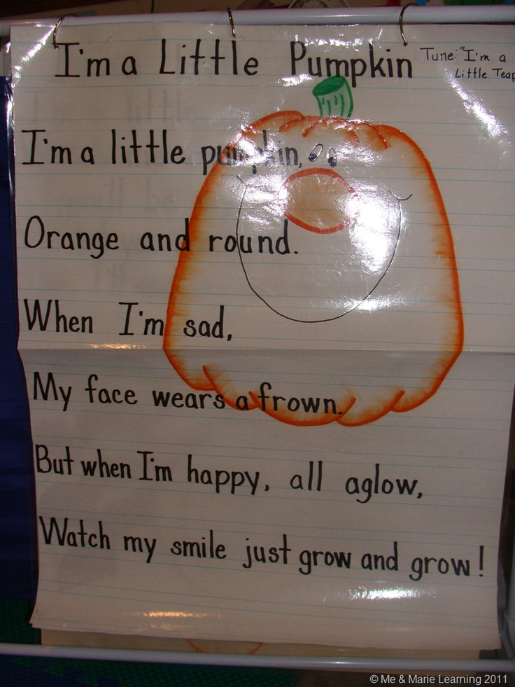 pumpkin poem: can be sung to the tune of I'm a little teapot