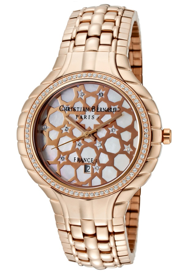 Price:$217.59 #watches Christian Bernard MO368ZWO5, Resplendent, sensuous and detailed, with a slightly curved glass and ribbon esges along the casee, expresses its very distinguished character