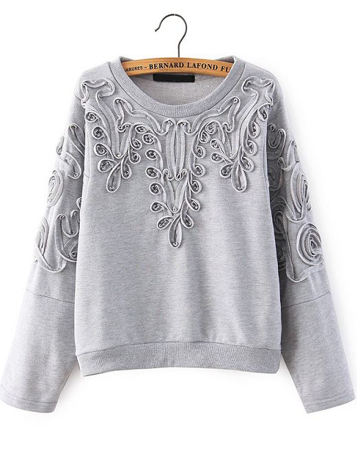 Grey Long Sleeve Disk Flowers Sweatshirt - abaday.com