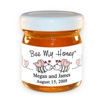 fall theme bridal shower favors -local honey with info, kinda a save the date too