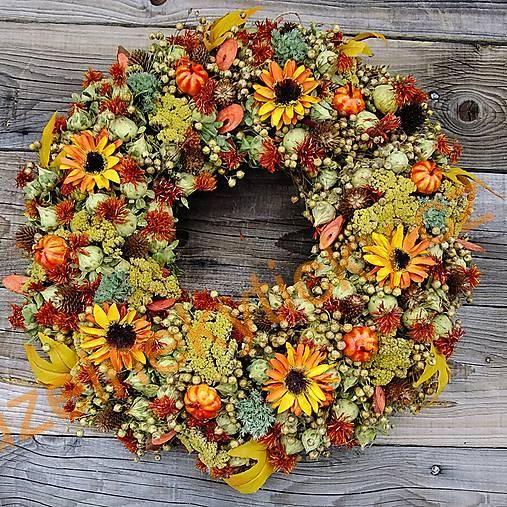 Věnce na dveře | Věnec podzimní - Kytičky, dýničky | Kouzelné kytičky