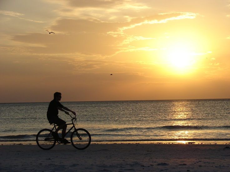 biking at sunset in Siesta Key.: Siesta Keys, Keys Sunsets