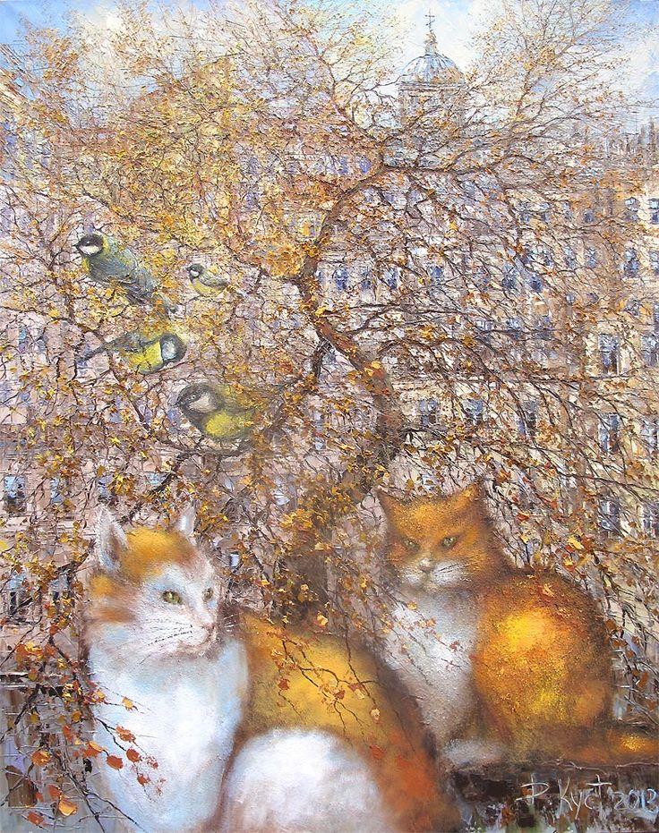 Два рыжих кота и синички