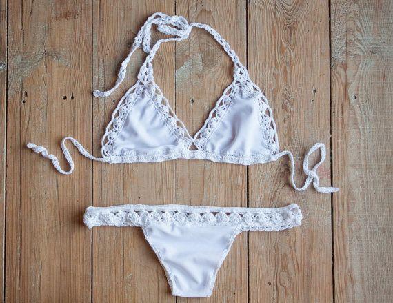 Stof gehaakte Bikini ingesteld Braziliaanse Bikini Set Lace