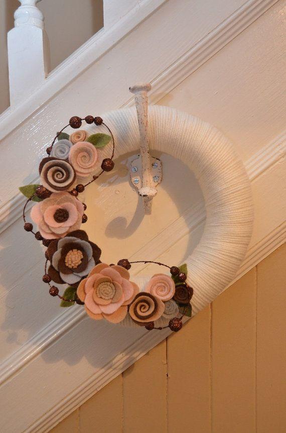 Yarn Wreath PINK CHOCOLATE FLOWER 10 inch by GoshYarnItWreaths, $35.00
