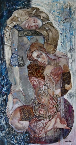 "Inna Orlik - ""Orpheus and Eurydice"" Acrylic & Gold Leaf on Canvas 59 ""x 32"" x 2 """""