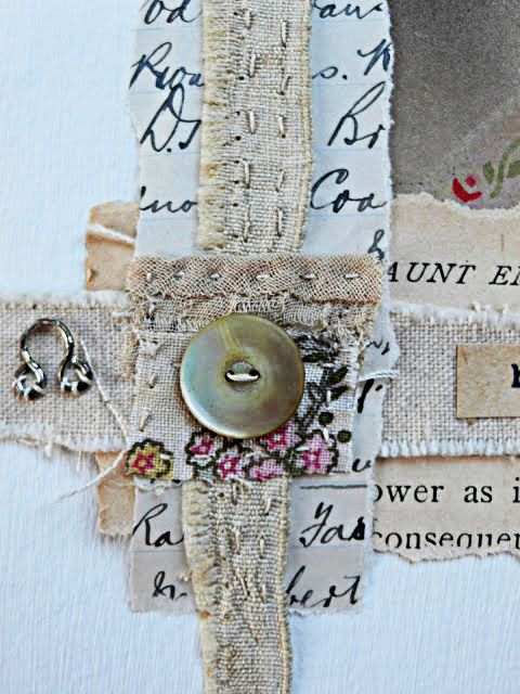 Gentlework ... Paper, fabric, hand stitch, lace, and a button to tie it together.