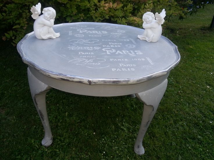 Lovely hand painted coffee table hand painted in Paris Grey and Old White. Silver Gild has been applied and Paris stencilling in Old White and lightly distressed to give that shabby chic look. Colourmefurniture