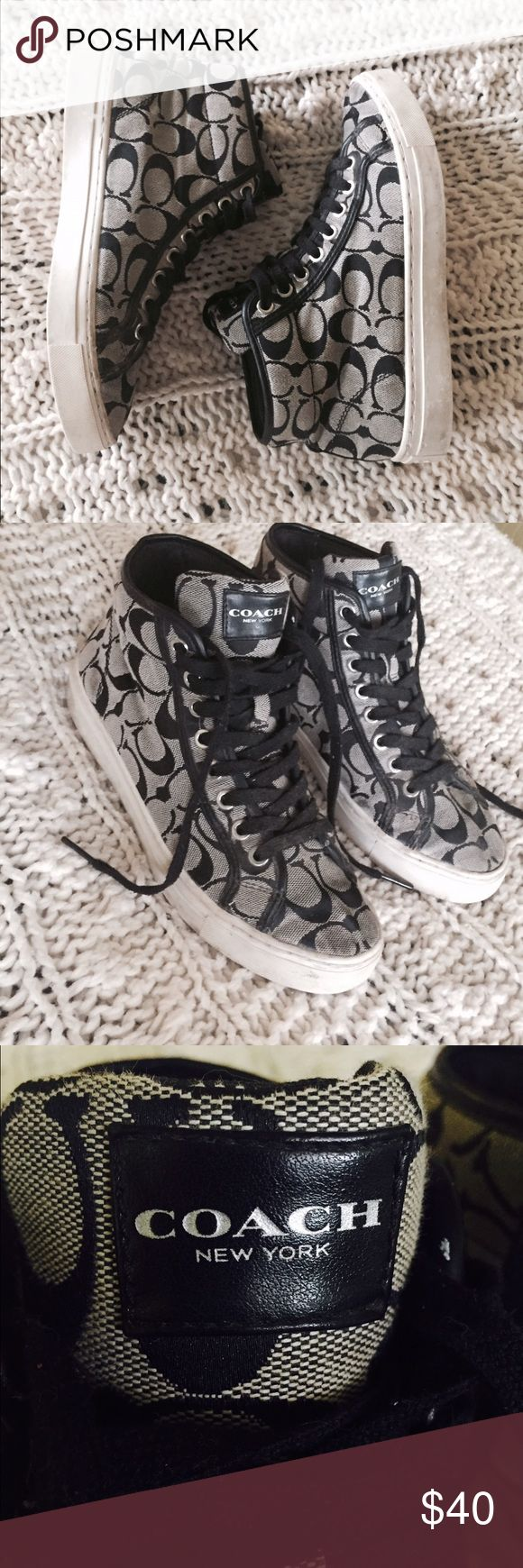 Classic Black Coach high top sneakers 💯 % authentic. Gently worn, no major stains. Just marks from normal wear, you you wanted to everything should come off with a magic eraser. Still super stylish shoes. Perfect for the coach girl! They are a size 8. I'm open to offers!! Coach Shoes Sneakers